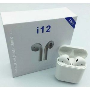 ".67"" x 1.8"" - Wireless i12 Bluetooth Earbuds with Color Printed Case"
